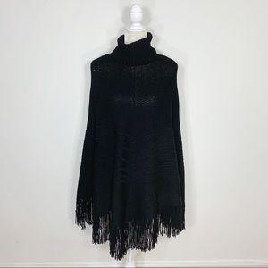 BANANA REPUBLIC wool knit turtleneck poncho